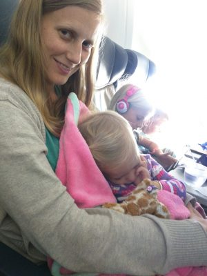 Addy slept for much of the flight.