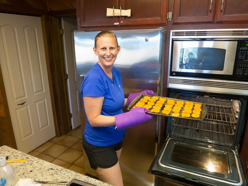 Amanda making dinner (for the kids)