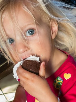 Who cares about the brownie, she wanted more cream...
