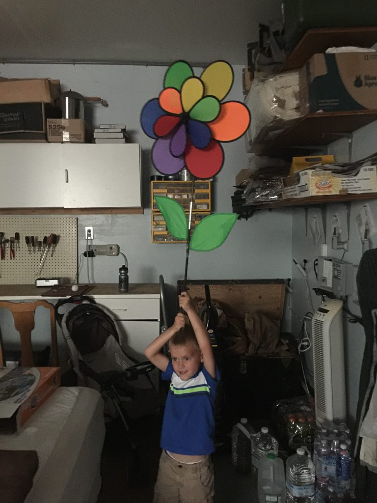 Austin being silly out in the garage