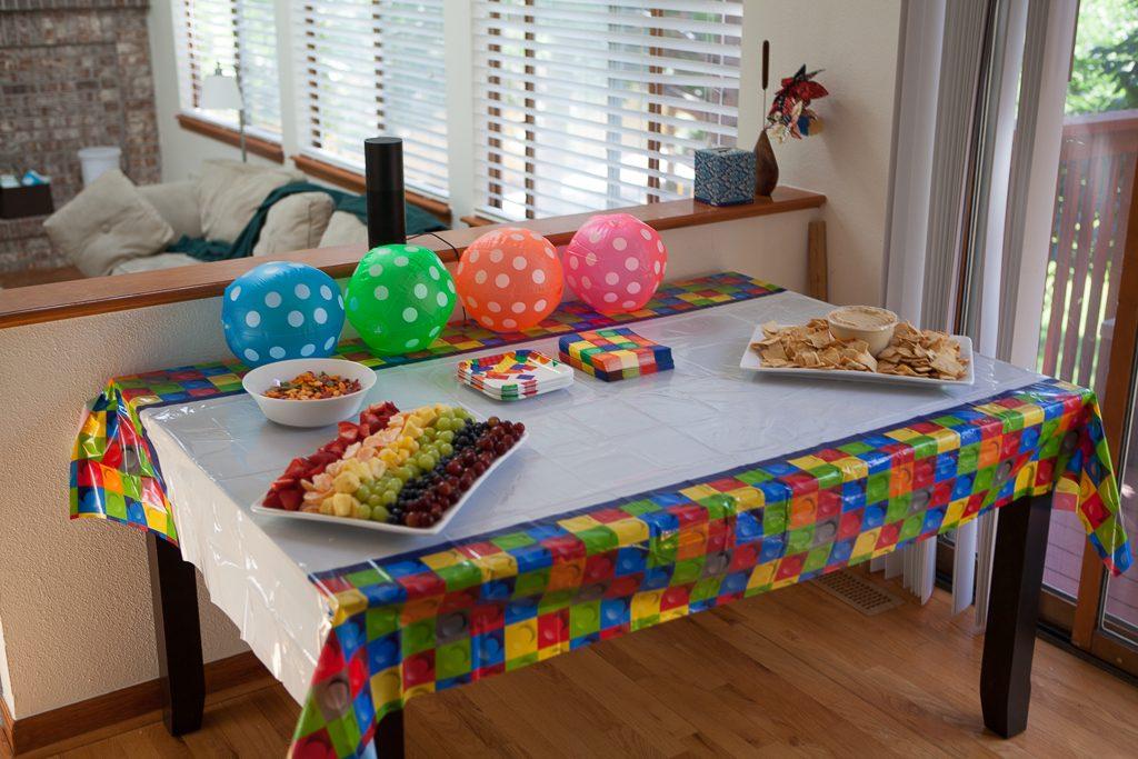 Snack table preparations in progress