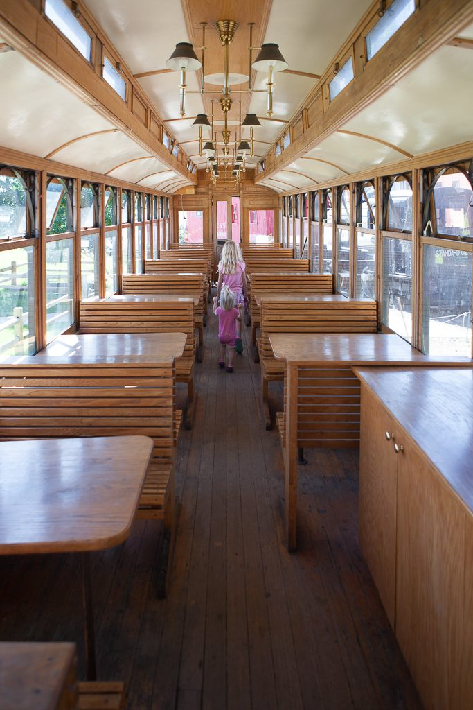 Adria and Addy exploring a dining car