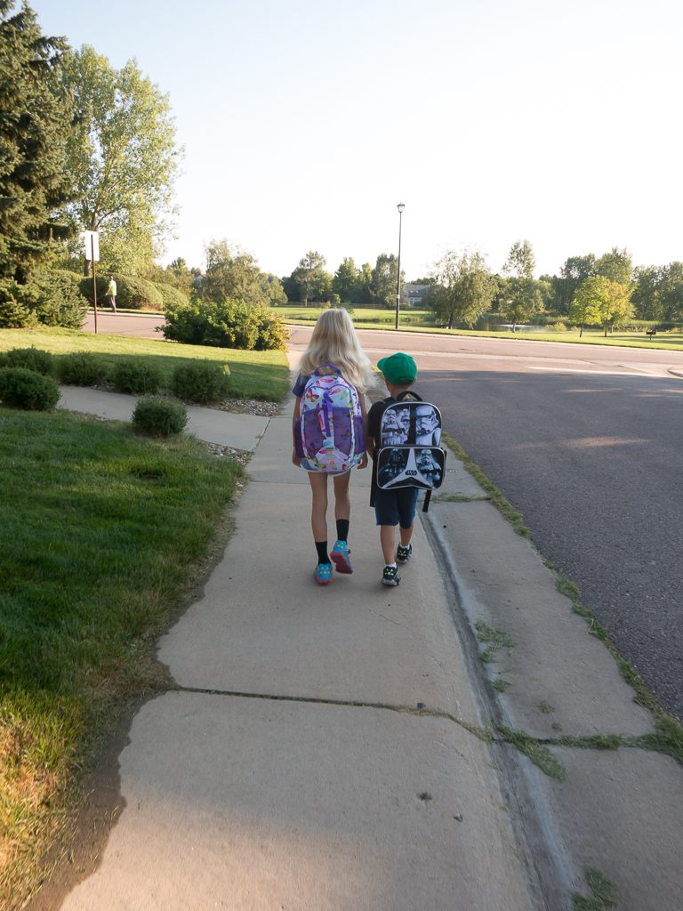 Walking to school on Austin's first day