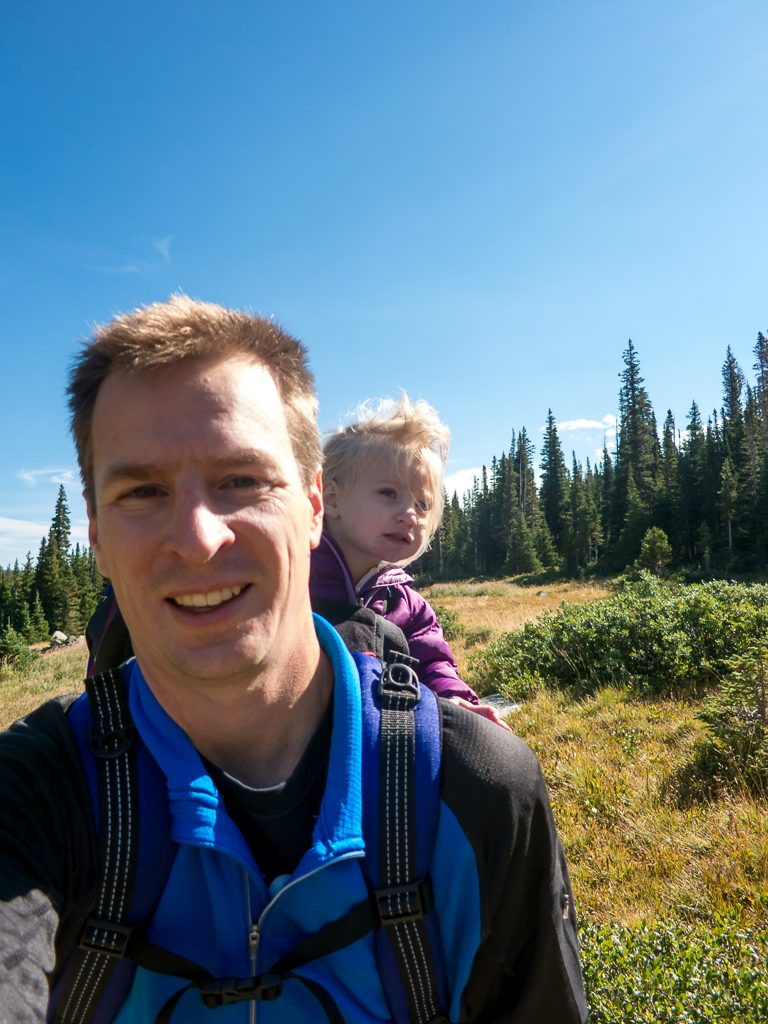 Windblown selfie with dad