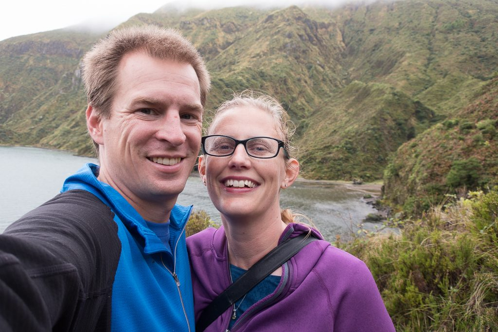 Hiking in the misty rain down to Lagao do Fogo