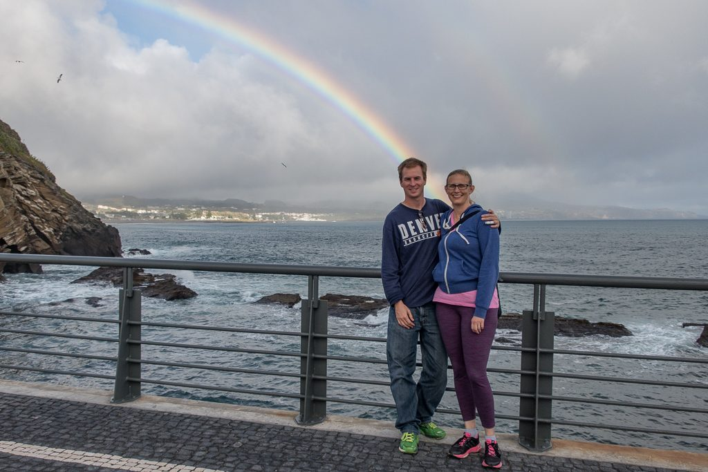 A rainbow in Ponta Delgada on the last full day of our trip